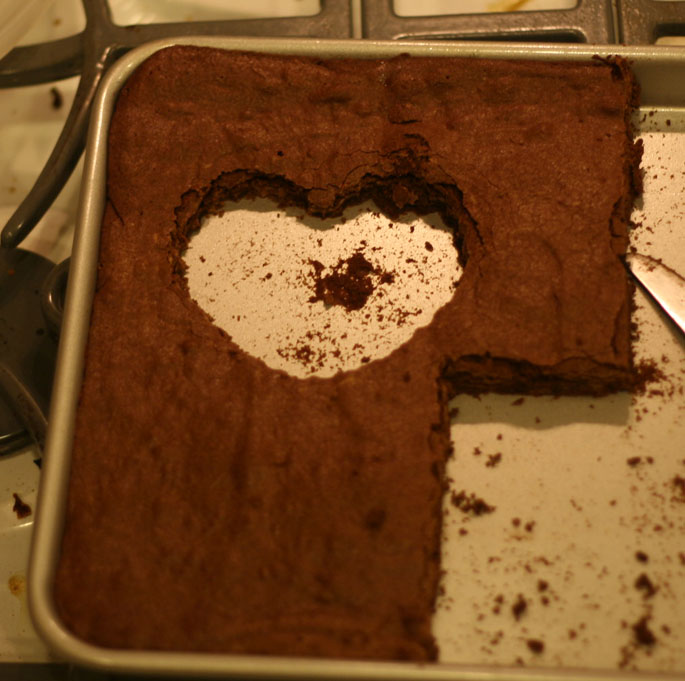 heart cut out of brownies