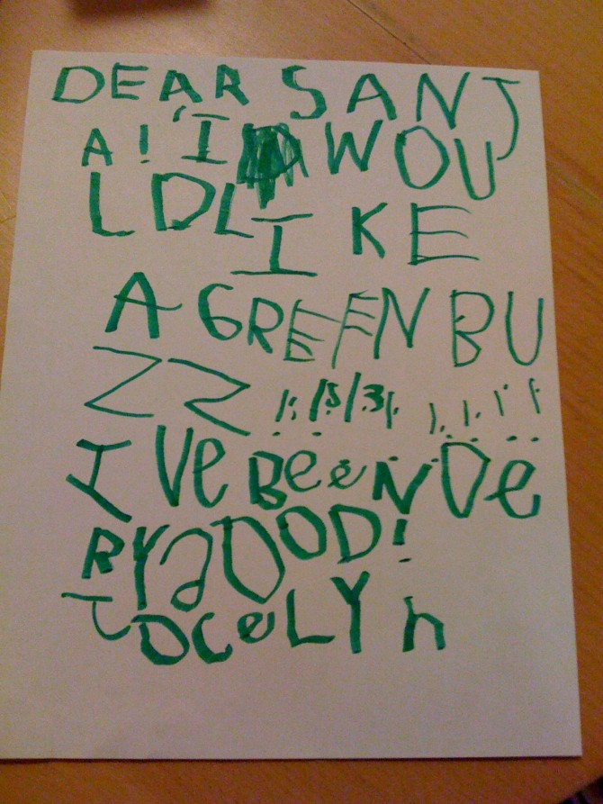 Jocelyn's Letter to Santa