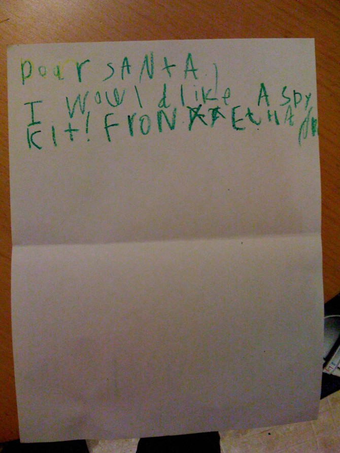 Ethan's Letter to Santa
