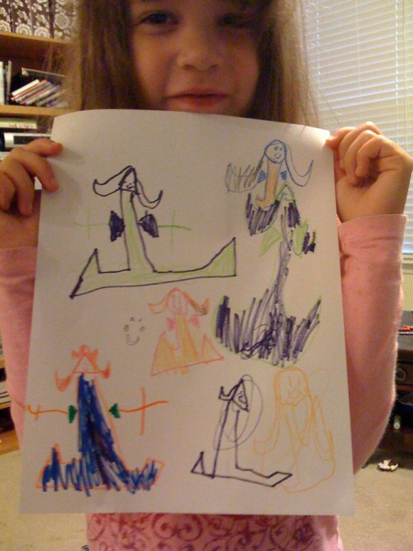 kid art: jocelyn's drawing of fancy dressed ladies